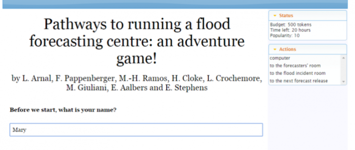 Pathways to running a flood forecasting centre: an adventure game!