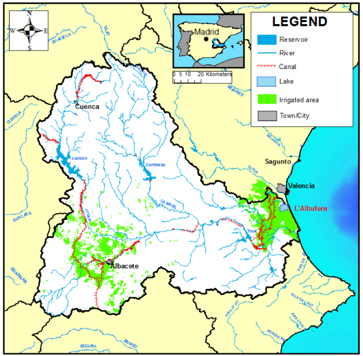 Jucar River Basin map including rivers, main infrastructures, and urban and irrigation demands